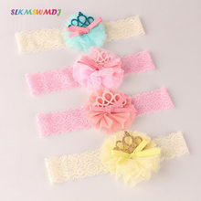 SLKMSWMDJ 1pcs new children's hair flower hair hoop girl baby crown bow hair band baby solid color yarn headdress accessories(China)