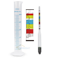New 3 Scale Hydrometer For Beer Wine Home Brewing Making Triple Scale Hydrometer 250ml Graduated Measuring