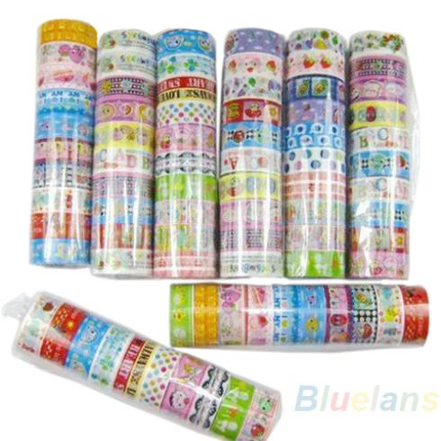 10 Rolls/set Of Kawaii Lovely Deco Cartoon Tape Scrapbooking Adhesive Paper Sticker PVC 0R7T