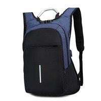 Men Coded Lock Antitheft Backpack USB Charge Travel Laptop Notebook Shoulder Bag New