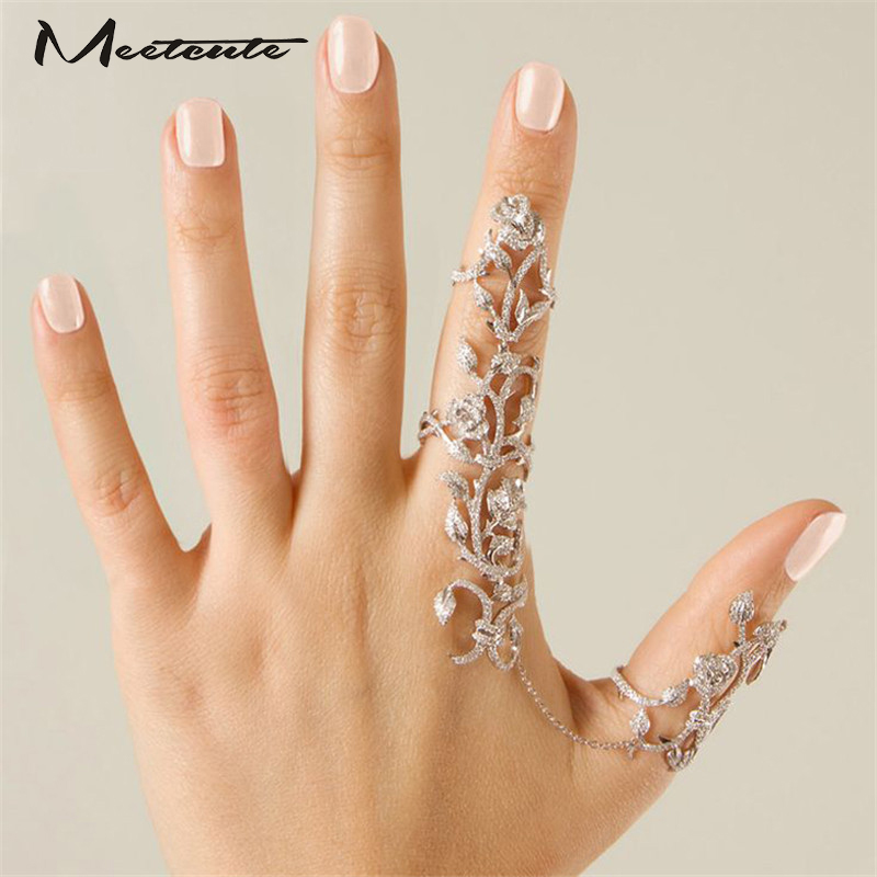 Meetcute Hot-Selling Occident  Women Chic Alloy+Rhinestone Shiny Crystal Floral Ring Celebrity Party Connect Full 2 Finger Rings