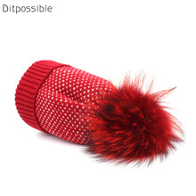 Ditpossible real raccoon fur hats for women fashion knit skullies girls gorro beanies female winter hat