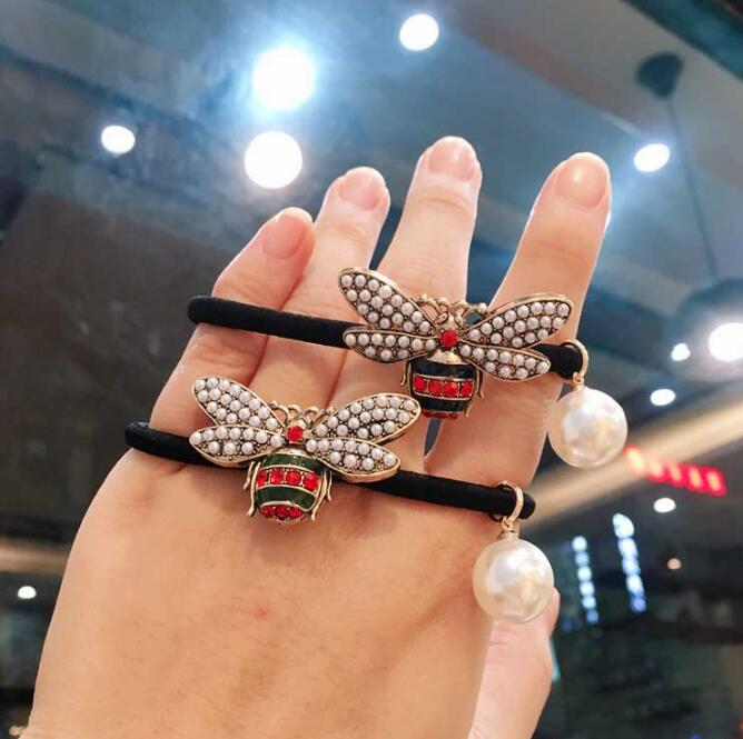 Metal Pearl-studded Little Bee Women Elastic Hair Band Simple Fashion Hair Rope