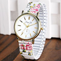 Ladies Wrist Watch Student Round Dial Casual Floral Flower Elastic Band  Women Fashion Quartz Stylish Simple