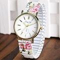 Señoras Reloj de Pulsera Estudiante Dial Redondo Casual Floral Flor Elastic Band Mujeres Cuarzo de La Manera Con Estilo Simple