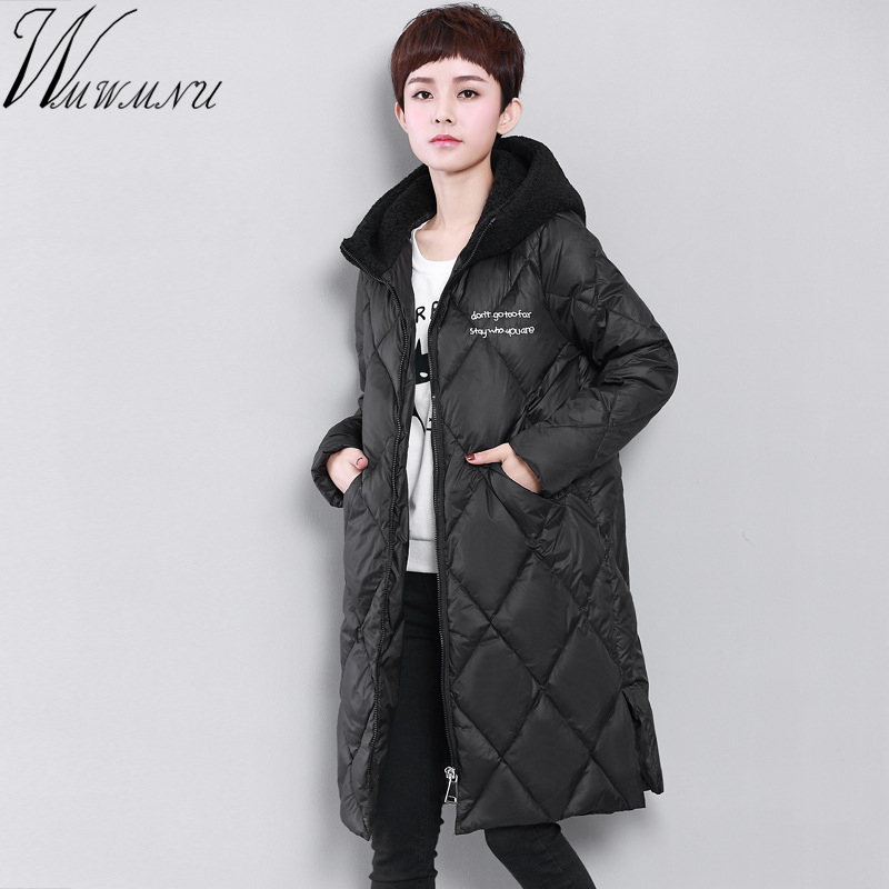Wmwmnu 2017 New arrival Women Coat Jacket Long Warm High Quality Woman Down Parka Winter warm Coat with lamb fur hood coat