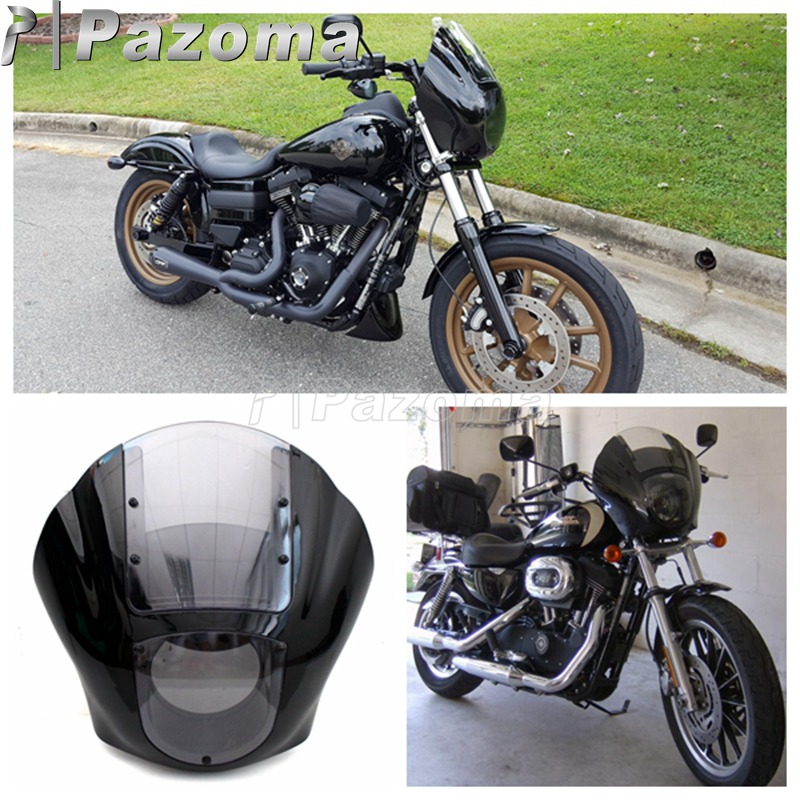 Motorbike Black and Clear Quarter Headlight Fairing Mounting Kit for Harley XL 883 Fat Bob Dyna FXR 1986-2016Motorbike Black and Clear Quarter Headlight Fairing Mounting Kit for Harley XL 883 Fat Bob Dyna FXR 1986-2016