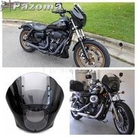Motorbike Black and Clear Quarter Headlight Fairing Mounting Kit for Harley XL 883 Fat Bob Dyna FXR 1986 2016