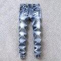 2017 Nova Marca Dos Homens Do Desenhador Com Corredores Elásticas Calça Jeans Para Homens hip hop estilo moda slim fit denim jeans harem pants calças calças