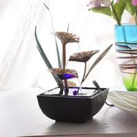 Decorative Indoor Water Fountains Resin Crafts Gifts Feng Shui Wheel Desktop Water Fountain Home Office Teahouse Decoration G