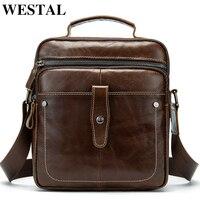 WESTAL Men's Bag Genuine Leather Bags for Men Travel Messenger Bag Men Leather Small Male Makeup/Crossbody Bags Handbags 8713