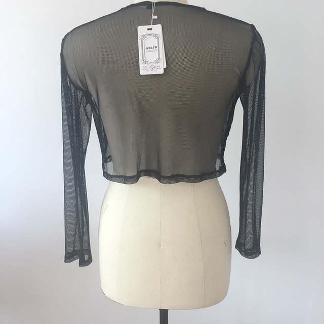 6a885169197 Black Fishnet Shirt Women Long Sleeve Fishnet Top Sexy See Through Club Wear  XXS-7XL
