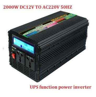 with UPS function power inverter 2000w / peak 4000w DC 12V 24V to AC 220v 230V inverter with LCD digital display+fast charger