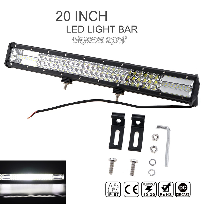 7D 20 Inch 540W 54000lm Car LED Worklight Bar Triple Row Spot Flood Combo Offroad Light Driving Lamp for Truck SUV 4X4 4WD ATV tripcraft 108w led work light bar 6500k spot flood combo beam car light for offroad 4x4 truck suv atv 4wd driving lamp fog lamp
