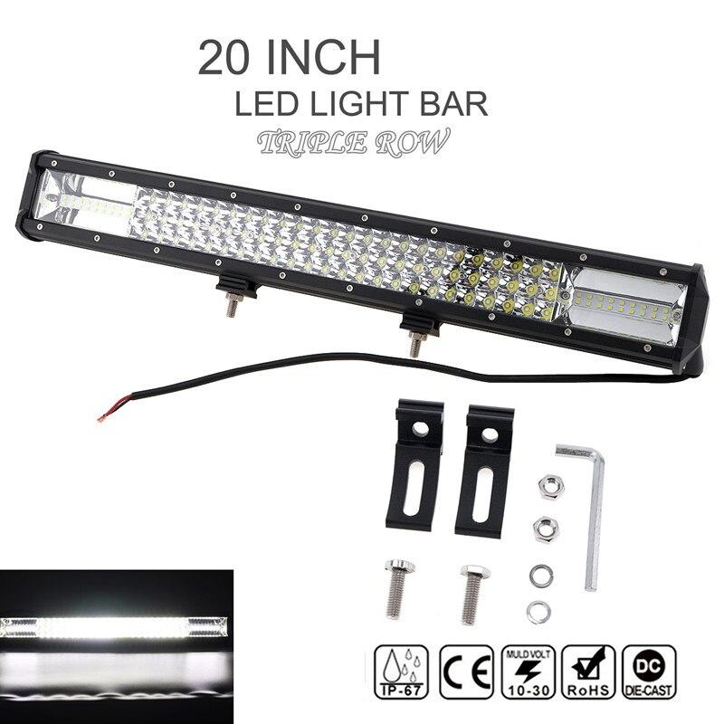 7D 20 Pouce 540 W 54000lm Voiture LED Lampe de Travail Bar Triple Rangée Spot Flood Combo Offroad Lumière Conduite Lampe pour Camion SUV 4X4 4WD ATV
