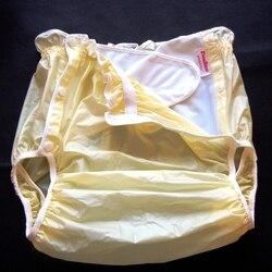 Freies Verschiffen FUUBUU2219-Yellow-M-1PCS erwachsene windeln nicht einweg windel couche adulte pvc shorts windeln für erwachsene