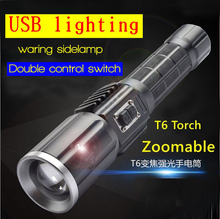 High power lights outdoor lighting  micro usb powerful led zoomable torch superbright lantern  flashlight for riding hunting