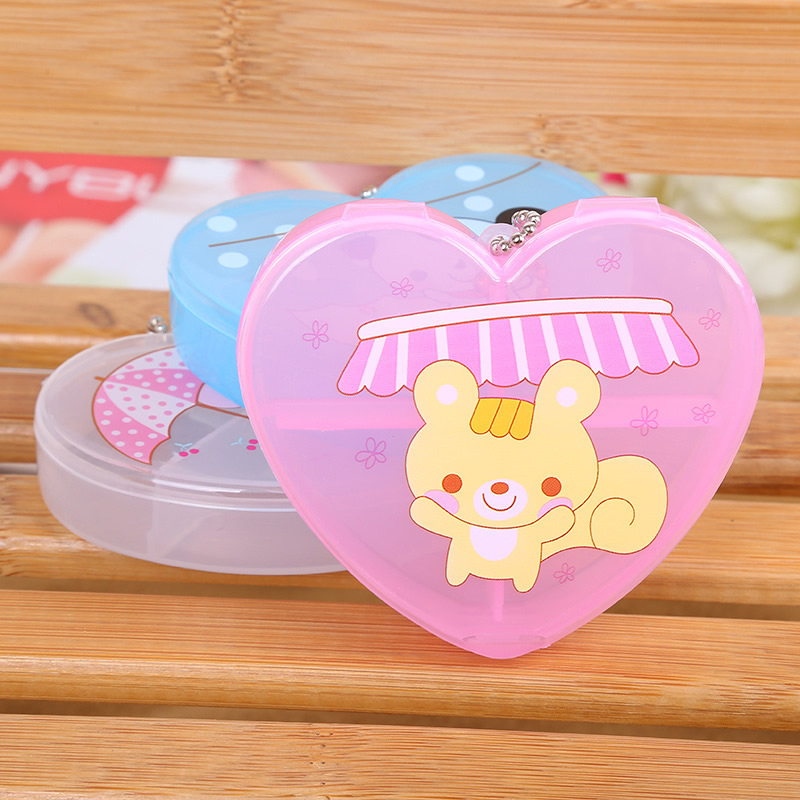 YYW 2020 Jewelry Box Cute Box 4 Cells Pill Box Plastic Tool Heart Box Case Jewelry Rings Craft Organizer Tiny Stuff Containers