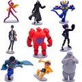 9 pçs/lote grande herói 6 figuras Baymax Fred Tomago Wasabi limão mel dos desenhos animados modelo brinquedos figura de ação brinquedos conjunto compatível