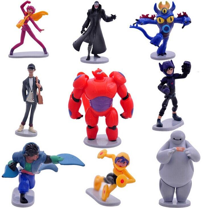 9Pcs/<font><b>Lot</b></font> <font><b>Big</b></font> <font><b>Hero</b></font> <font><b>6</b></font> <font><b>Figures</b></font> Baymax Fred Tomago Honey Lemon Wasabi Cartoon Model Toys Assembly Toys Compatible <font><b>Action</b></font> <font><b>Figure</b></font>