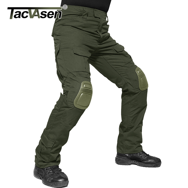 TACVASEN Men Military Pants With Knee Pads Airsoft Tactical Cargo Pants Army Soldier Combat Pants Trousers Paintball Clothing