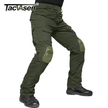TACVASEN męskie spodnie wojskowe z ochraniacze na kolana Airsoft taktyczne spodnie w stylu cargo armia żołnierz spodnie bojowe spodnie Paintball odzież tanie i dobre opinie Cargo pants Pełnej długości Mieszkanie Luźne spandex Poliester COTTON 2 5 - 3 2 Midweight Suknem Fałszywe zamki Military