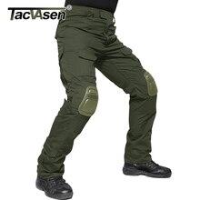Мужские военные брюки TACVASEN с наколенниками, тактические брюки карго для страйкбола, армейские солдатские боевые брюки, одежда для пейнтбола