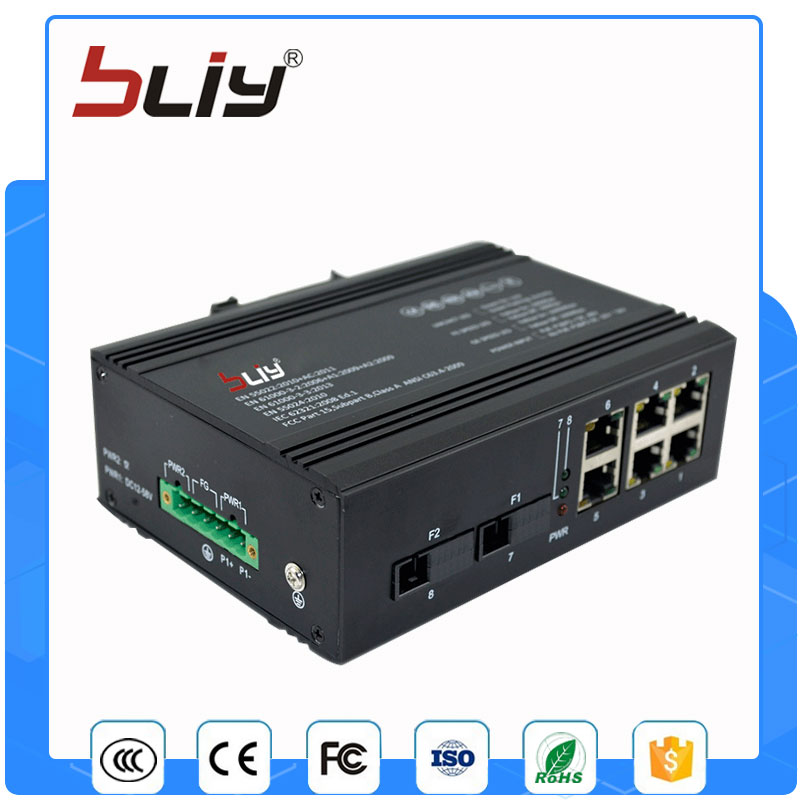 6 Port industrial grade ethernet switch 10/100M 2 fiber port unmanaged network switch fiber optic din rail mount ethernet switch managed industrial grade network switch 4 gigabit rj45 port 2 sfp fiber port ethernet industry smart network optical kvm switch