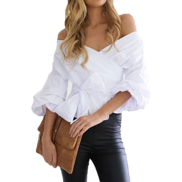 f1ea71e38565 Women's Shirt Ruffled Off Shoulder White Blouse Shirt Autumn Ruched Sleeve  Cool Blouse Women Waist Tie Cotton Top Tees Blusas