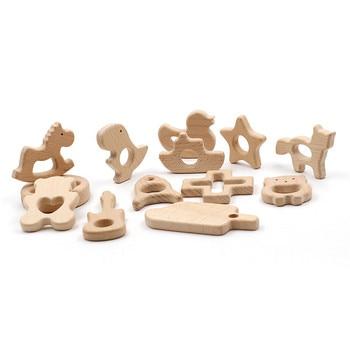 2 шт. Детские деревянный Прорезыватель животного бук деревянный Прорезыватель для новорожденных разработка зубов игрушки с пустышками Кли...