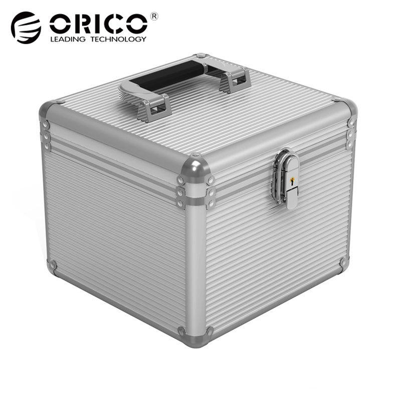 Orico BSC35 de aluminio 5/10 de 3,5 pulgadas disco duro de protección, caja de almacenamiento con bloqueo de plata-