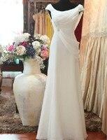 תמונה אמיתית לבוש הרשמי אלגנטי הלבן סקופ צוואר ארוך שמלת שיפון שמלת הערב עם אגלים