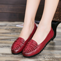 2017 spring new women's shoes leather large size mothers casual flat shoes soft bottom fashion comfortable work ladies shoes 42