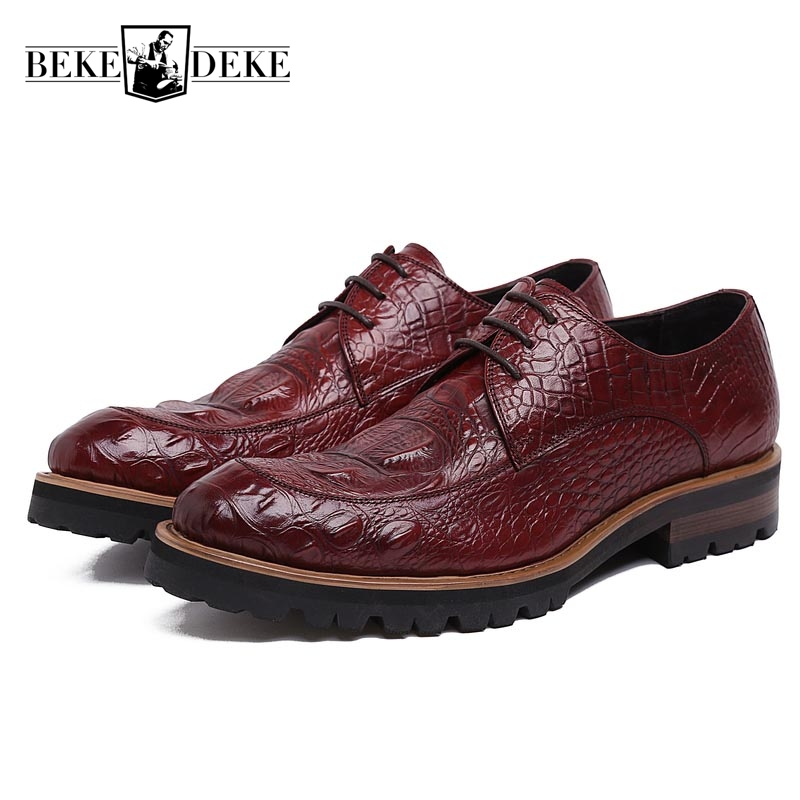 Winter Men Formal Shoes Genuine Leather Cow Lace Up Dress Shoes Wedding Shoes Male Thick Bottom Round Toe Business Work Shoes