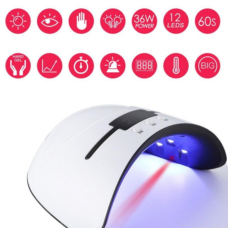 36w UV Lamp Nail Dryer For All Types Gel 12 Led UV Lamp for Nail Machine USB 30s 60s 90s Timer Portable UV lamps Hardening