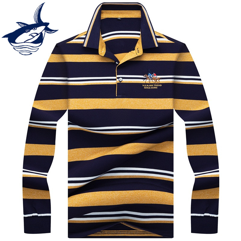 2019 New Fashion long sleeve   polo   shirts men brand Tace & Shark high quality 3D embroidery striped   polo   shirt homme business