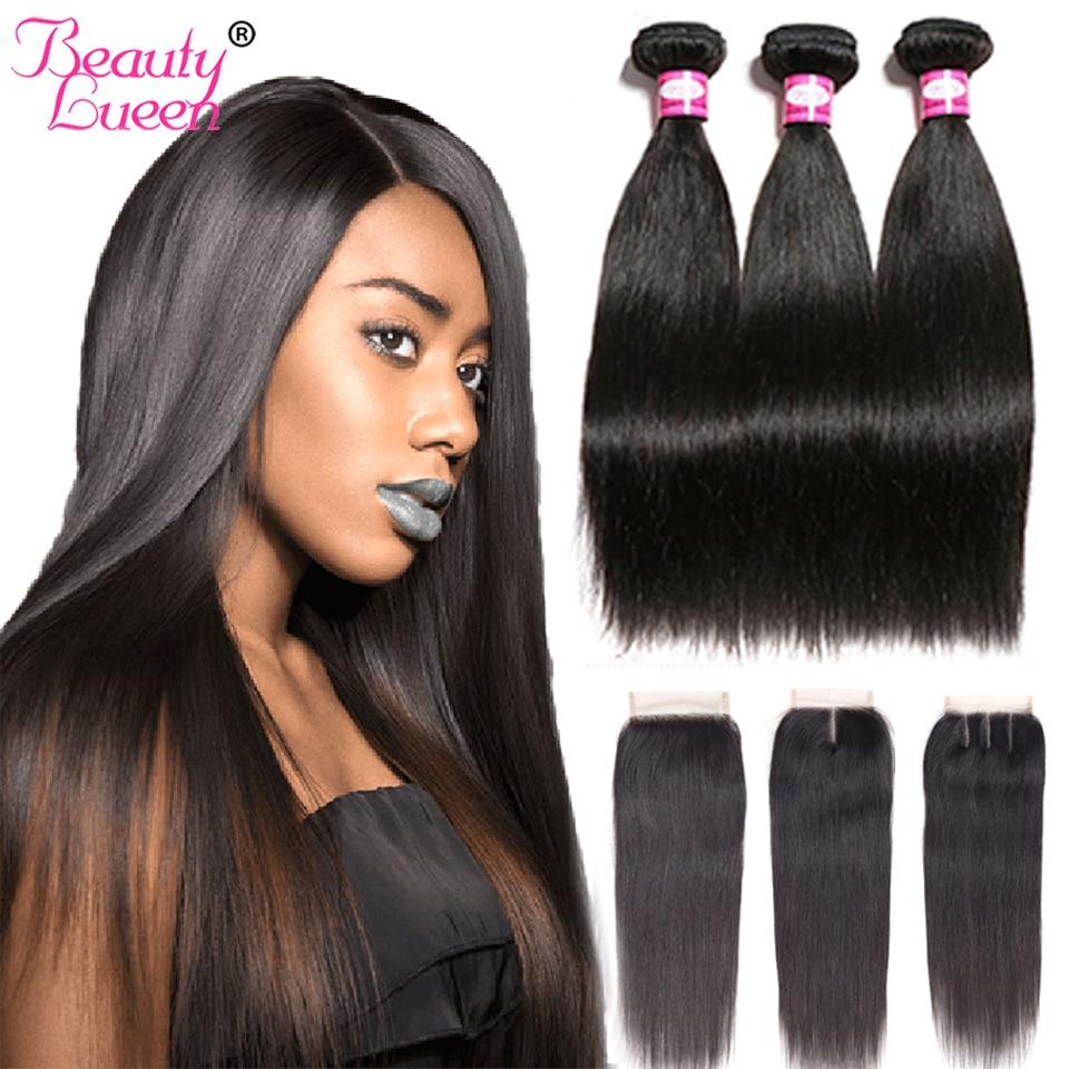 Brazilian Straight Hair Weave Bundles With Closure Remy 34 Bundles