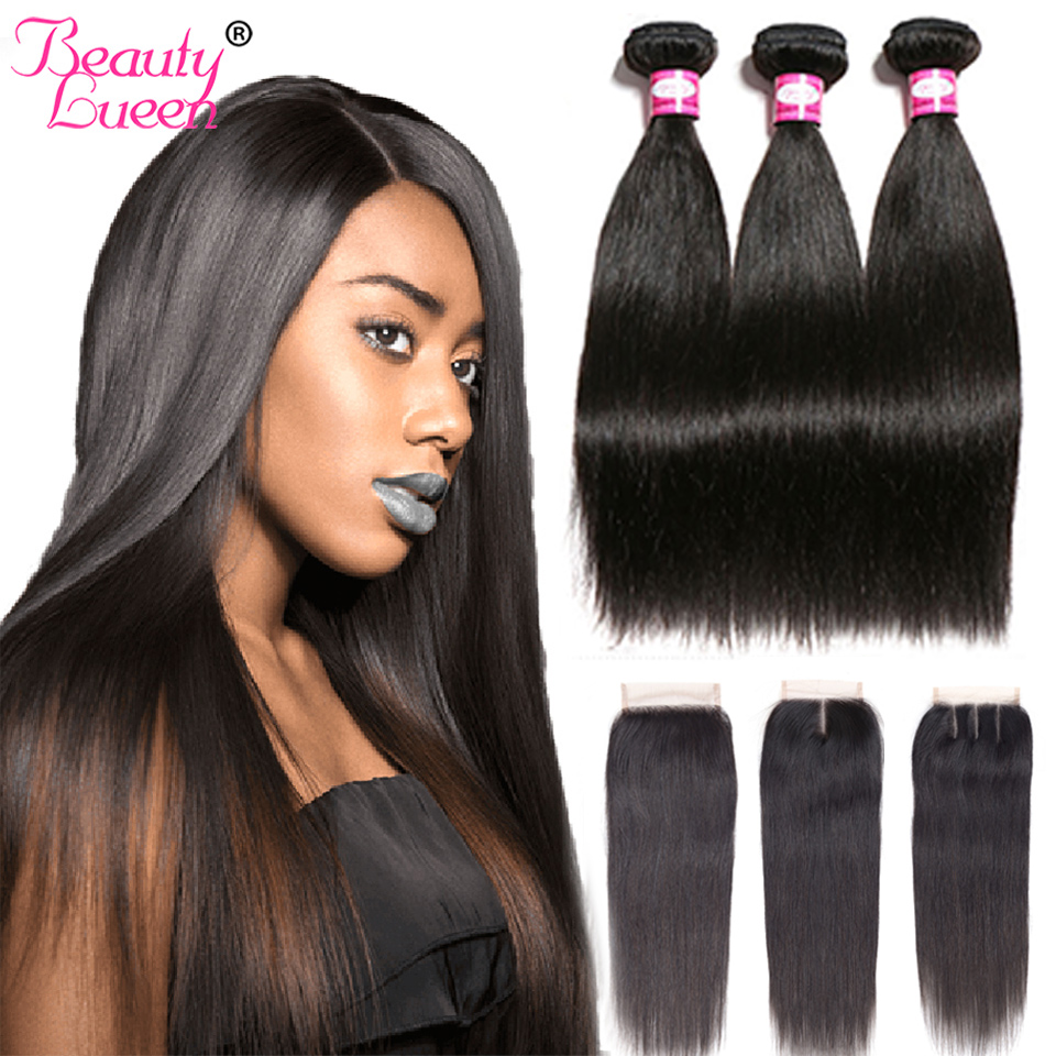 Brazilian Straight Hair Weave Bundles With Closure Remy 3/4 Bundles Brazillian Straight Hair With Closure Jet Black Human Hair