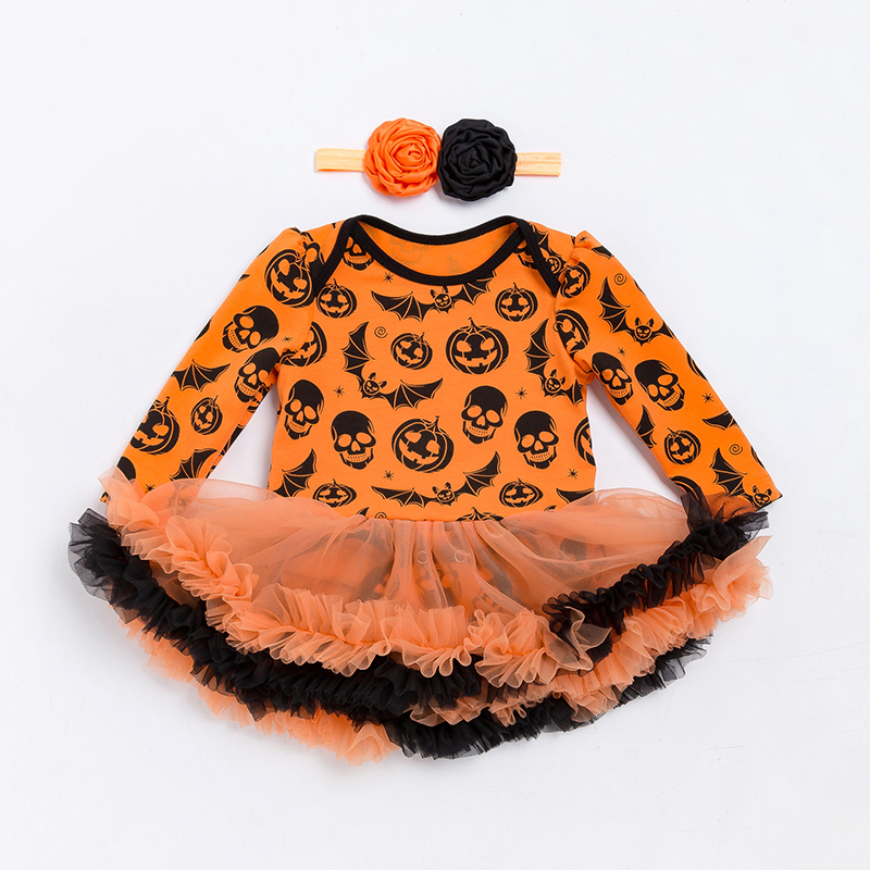 49db33837 Halloween Pumpkin Black Baby Girl Costumes Lace Petti Rompers ...
