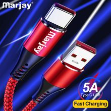 Marjay 5A USB Type C Fast Charging usb c Cable Type-c data Cord Phone Charger For Samsung S9 S8 Note 9 8 Huawei P20 pocophone F1
