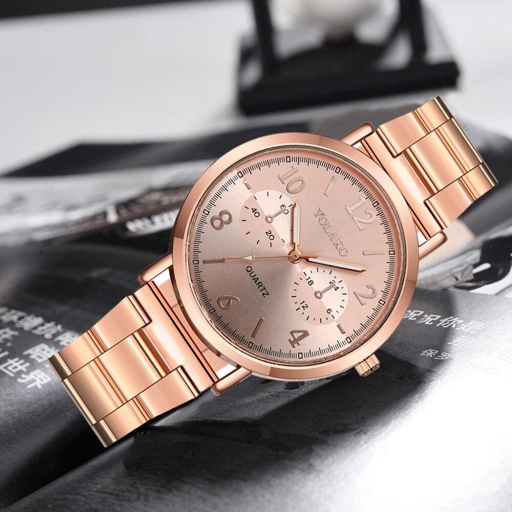 YOLAKO Luxury Brand Geneva Watch Women Fashion Stainless Steel Analog Ladies Quartz Wrist Watch Clock Gift Relogio Feminino