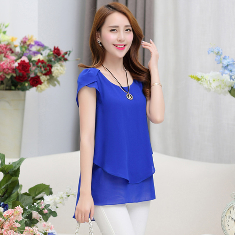 dbb3cb75799 Women Blouse Shirts Summer Elegant Chiffon Blouse O Neck Butterfly Short  Sleeve Lady Clothing Blusas Femininas Casual Loose Tops-in Blouses   Shirts  from ...