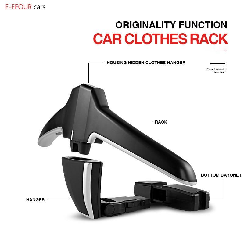 E-FOUR Car Coat Hanger Car ABS Seat Back Clip Clothes Suit Jacket Slip Hanger Fashion Car Vehicle Fastener Back Seat Coat Hanger back vent flap pocket pea coat