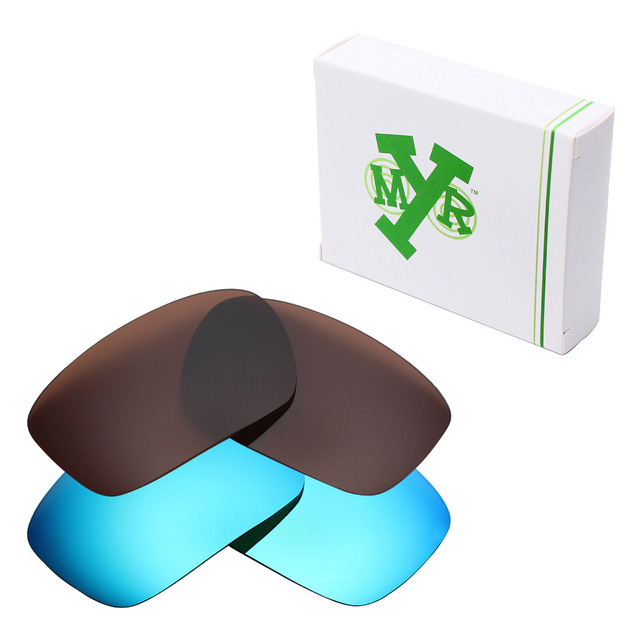 a7d9ff58bf45 2 Pairs Mryok POLARIZED Replacement Lenses for Oakley Badman Sunglasses Ice  Blue & Bronze Brown