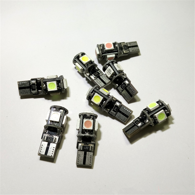 CYAN SOIL BAY 10pcs T10 5 led 5050 smd Canbus Error Free AUTO W5W car door Light reading lamp dome bulb White Red Blue Amber wholesale 10pcs lot canbus t10 5smd 5050 led canbus light w5w led canbus 194 t10 5led smd error free white light car styling