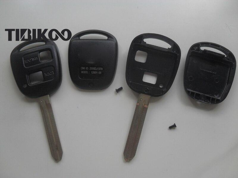 Сменные заготовки для ключей без выреза, 2 кнопки для Toyota Ville Previa Camry Prado, дистанционный ключ, оболочка TOY43, лезвие, 10 шт./лот