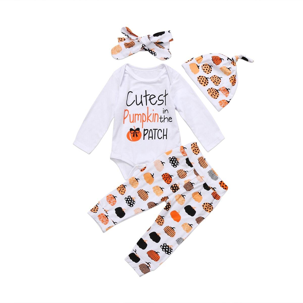4Pcs Set Halloween Newborn Toddler Baby Boys Girls Pumpkin Tops Romper Legging Pants Hat Headbands Outfits Suit Clothes