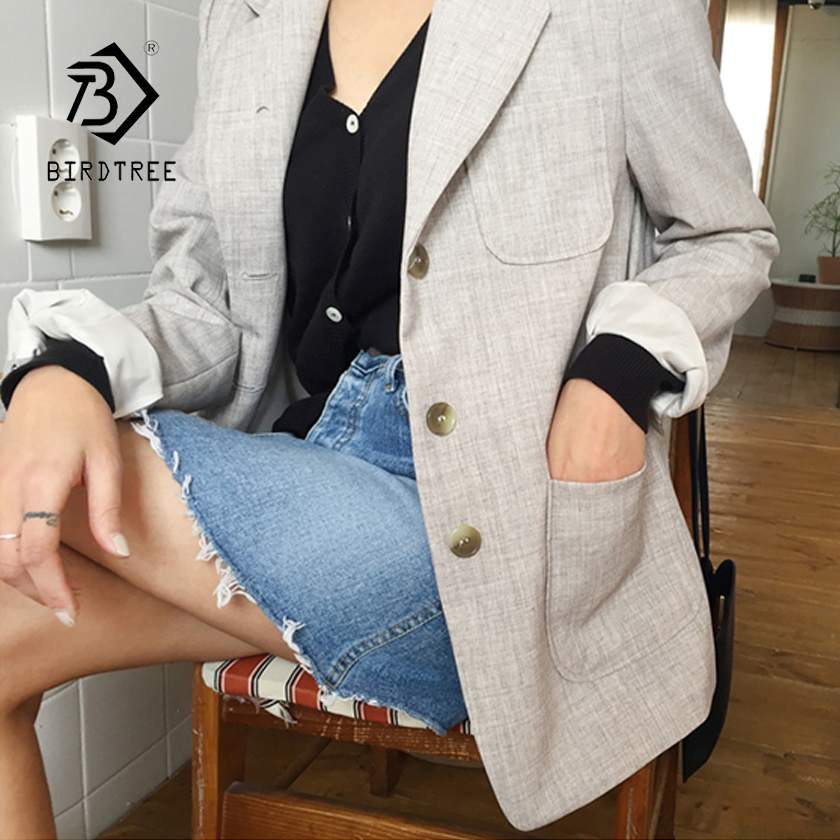 New Arrival Women Blazer Linen Gray Solid Notched Single Breasted Big Pockets Elegant Jacket Office Lady Top Casual C87316X