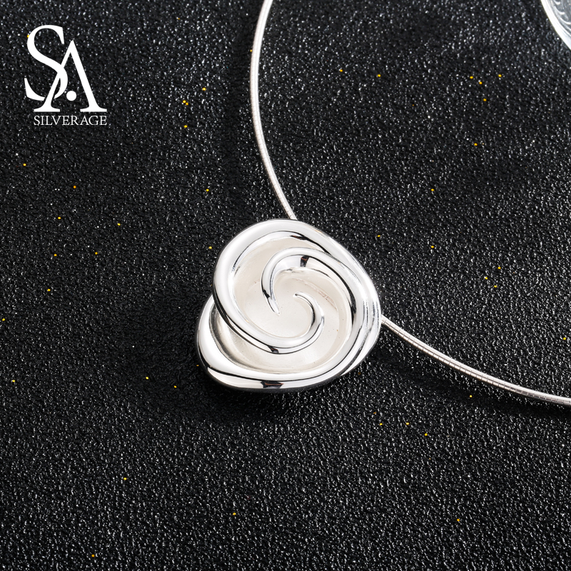 SA SILVERAGE 925 Sterling Silver Rose Choker Necklaces Party Plant Big Pendant Necklaces For Women Fine Jewelry Silver Chokers 925 sterling silver music chain violin pendant choker necklace fashion jewelry cello chokers necklaces