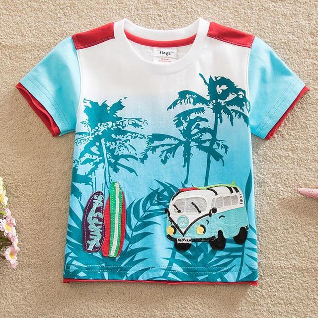Bandeiras frete grátis primavera verão 2016 baby & kids impressão floresta carro camiseta menino manga curta gola redonda algodão T-shirt B8108